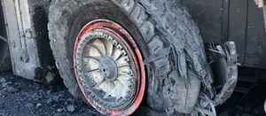 Speeding haul truck tyre fail