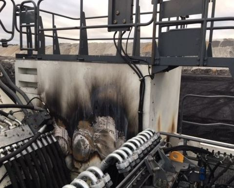 Excavator fire after maintenance