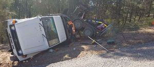Mine light vehicle overturns with trailer